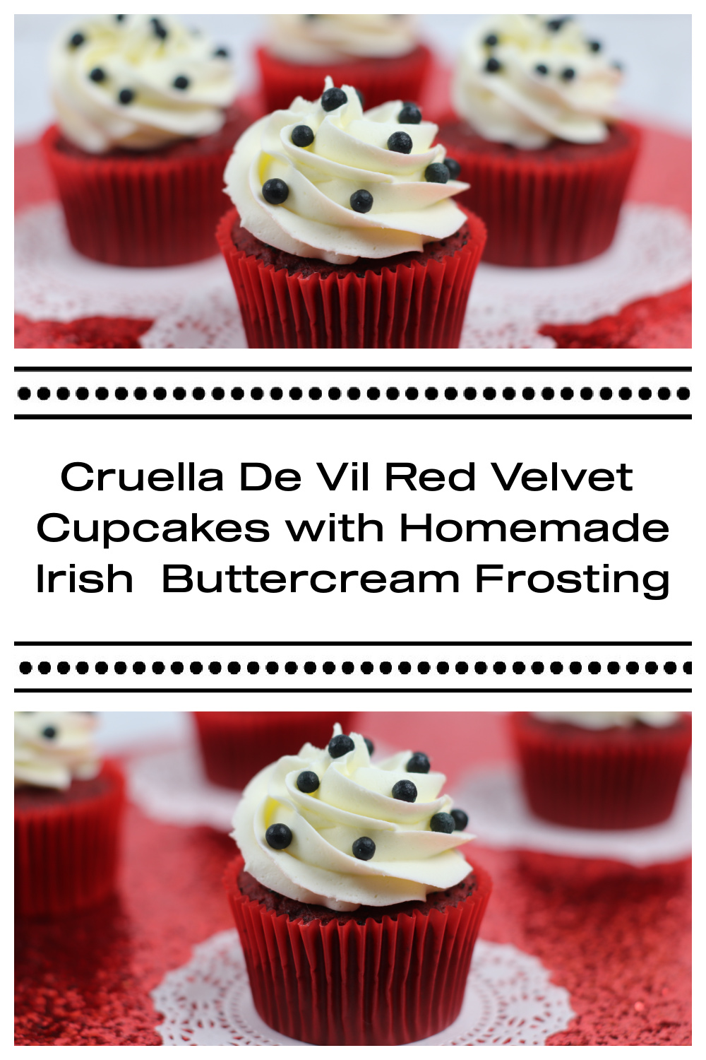 Red Velvet Cupcakes with White Frosting and Black Candies on a paper doily