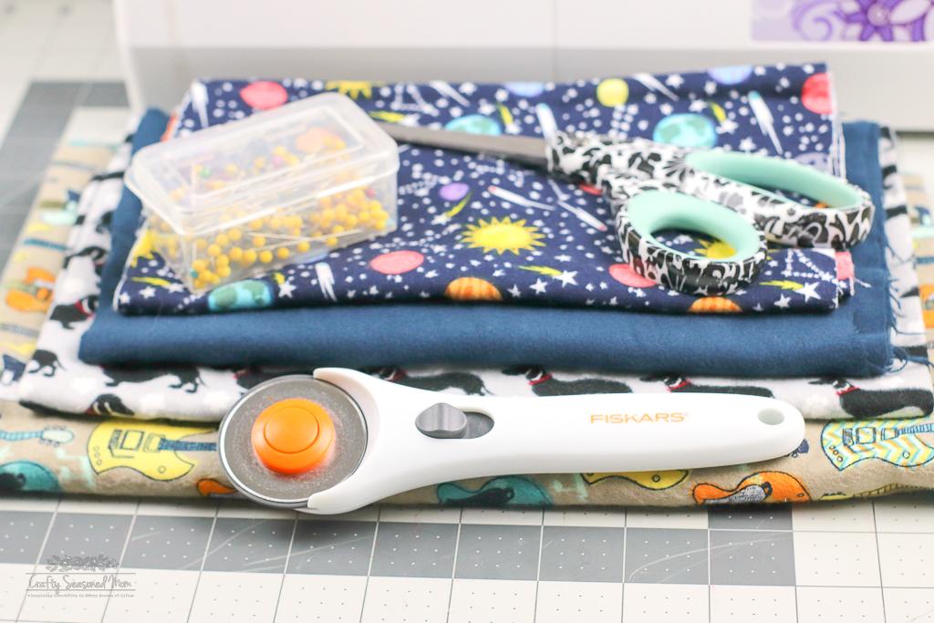 DIY Reusable Disinfecting Wipes Supplies on a grey cutting mat