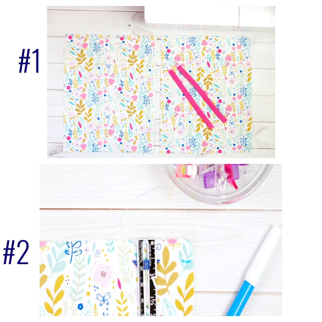 double photo #1 and #2 floral fabric, fabric marker and gauge for easy to sew pleated face mask with headband loop ties on a white table
