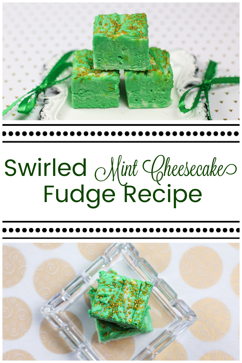 3 pieces of fudge on top of a small white metal tray and three pieces of fudge in a square glass tray on gold and white paper for Swirled Mint Cheesecake Fudge Recipe