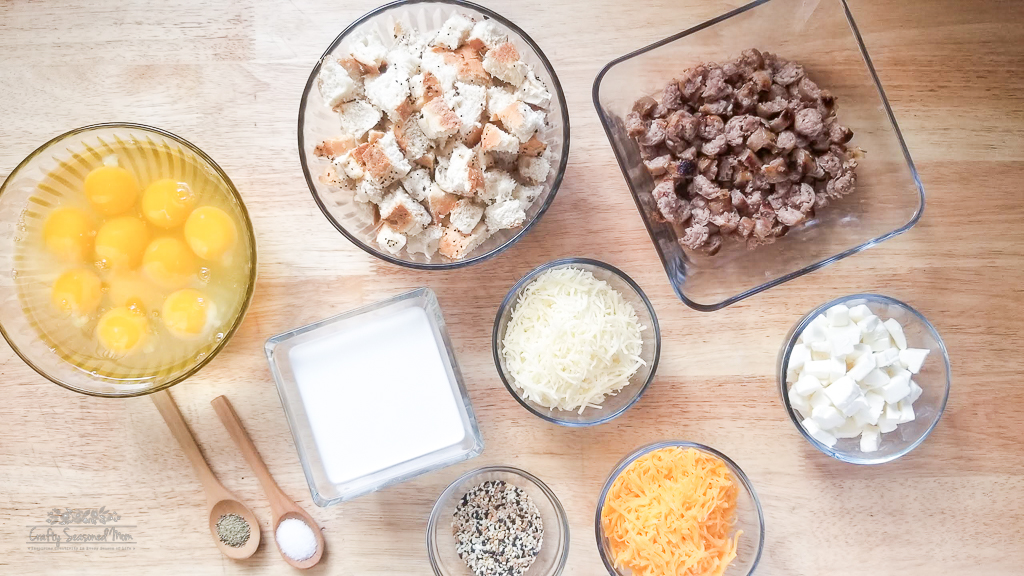 Freezer-Friendly Everything Bagel Breakfast Muffins Recipe Ingredients on a wooden table