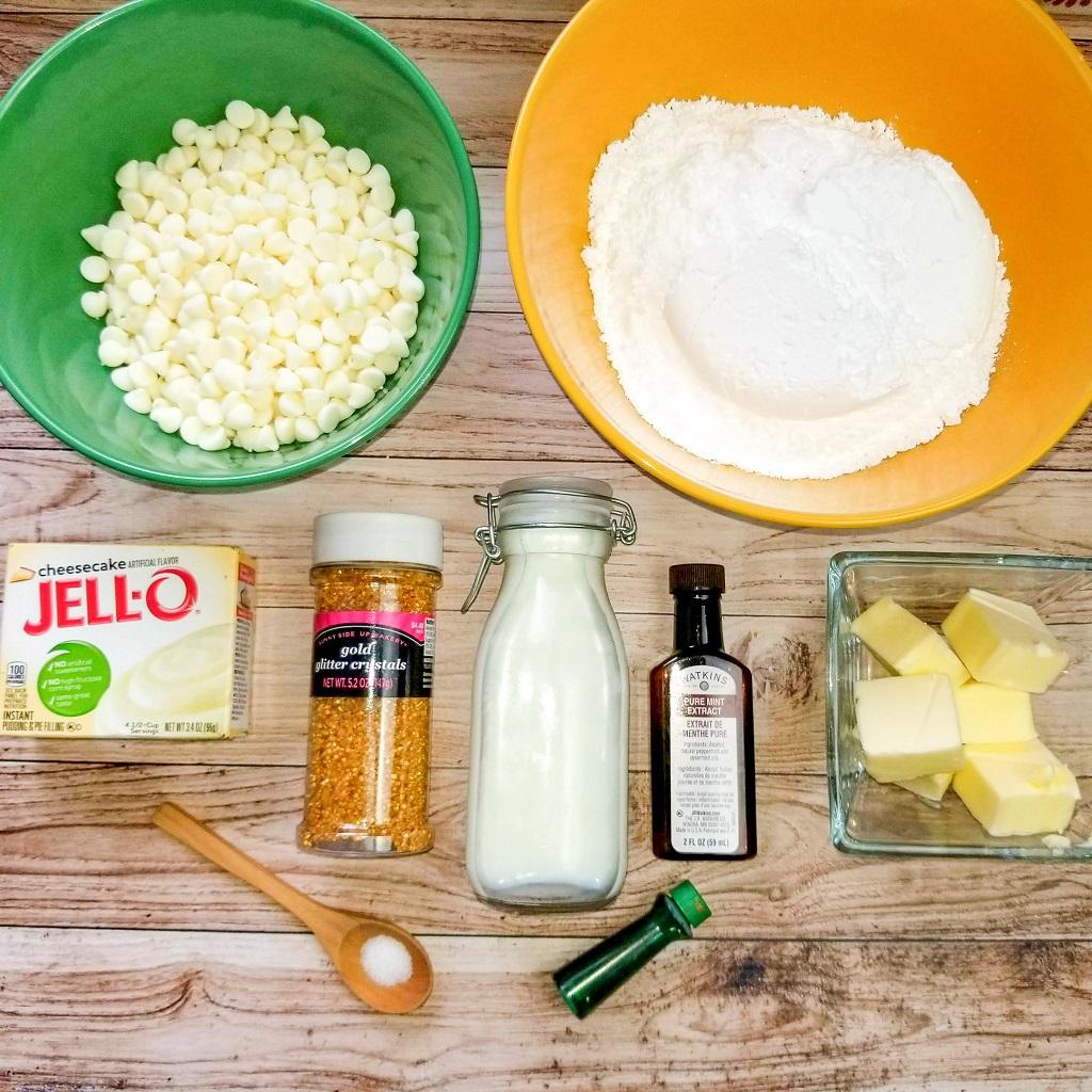 Swirled Mint Chocolate Cheesecake Fudge Ingredients on light wood texture table