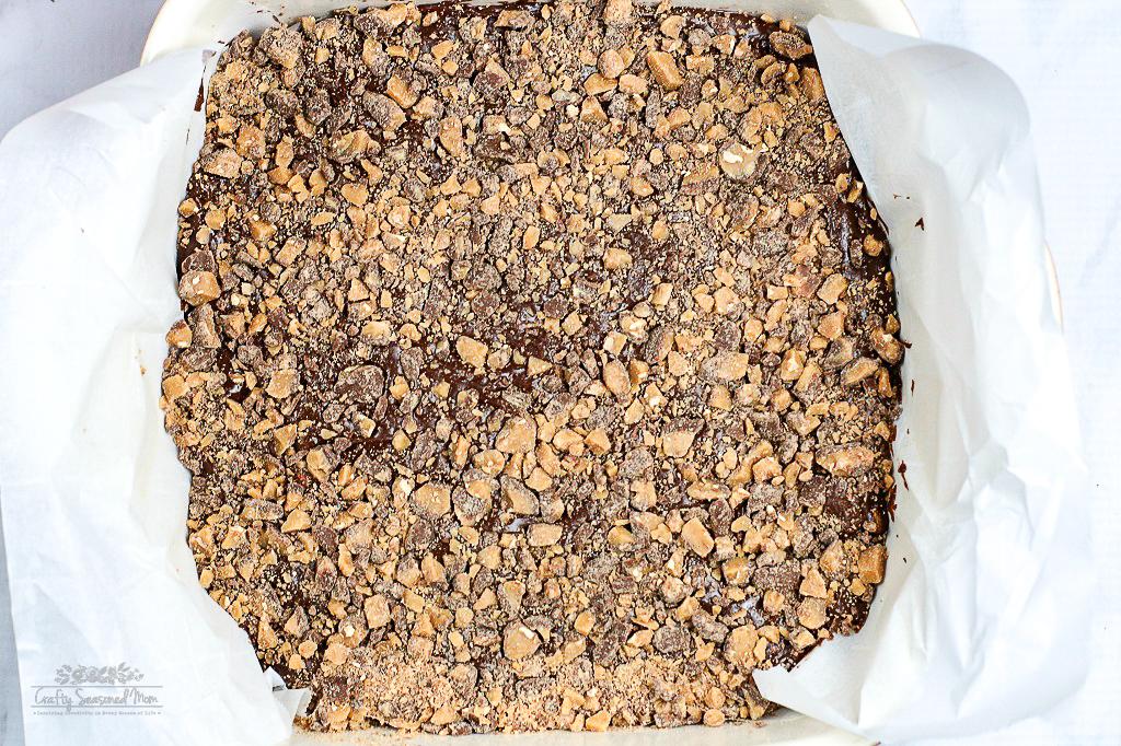 Easy Heath Bar Fudge Recipe in baking dish