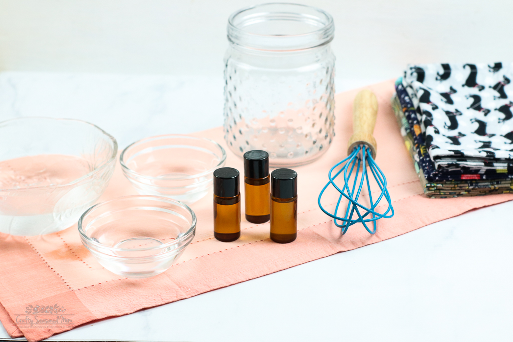 DIY Reusable Disinfecting Wipes Solution Supplies